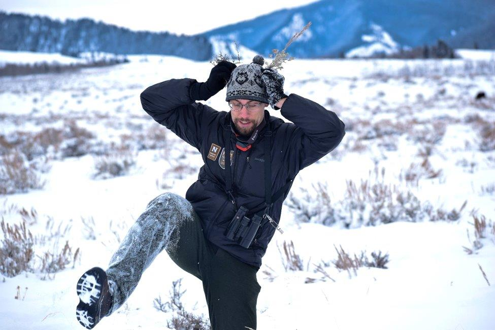 A Nat Hab guide treks through the snow in Yellowstone, pretending to be a deer.