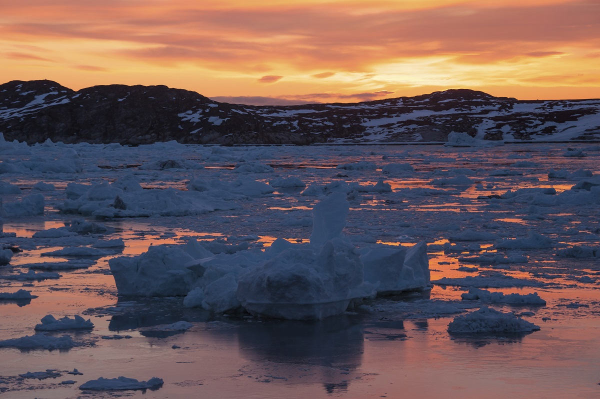 Icebergs at sunrise in Greenland.