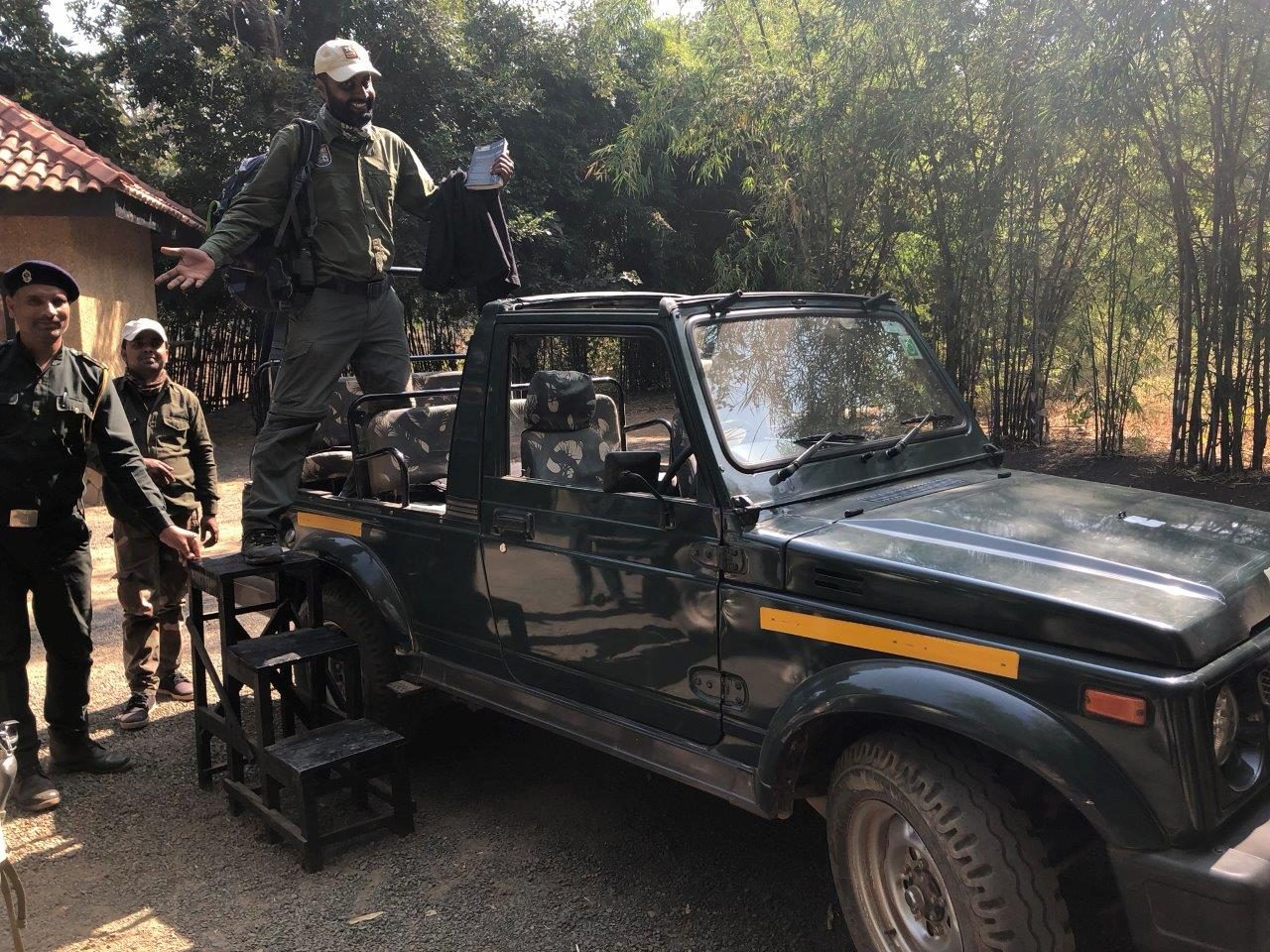 A Gypsy, an open-aired, four-wheel-drive safari vehicle necessary in the back roads of India provides a raised seating area where you wait with a hot water bottle and Nat Hab blanket on your lap.
