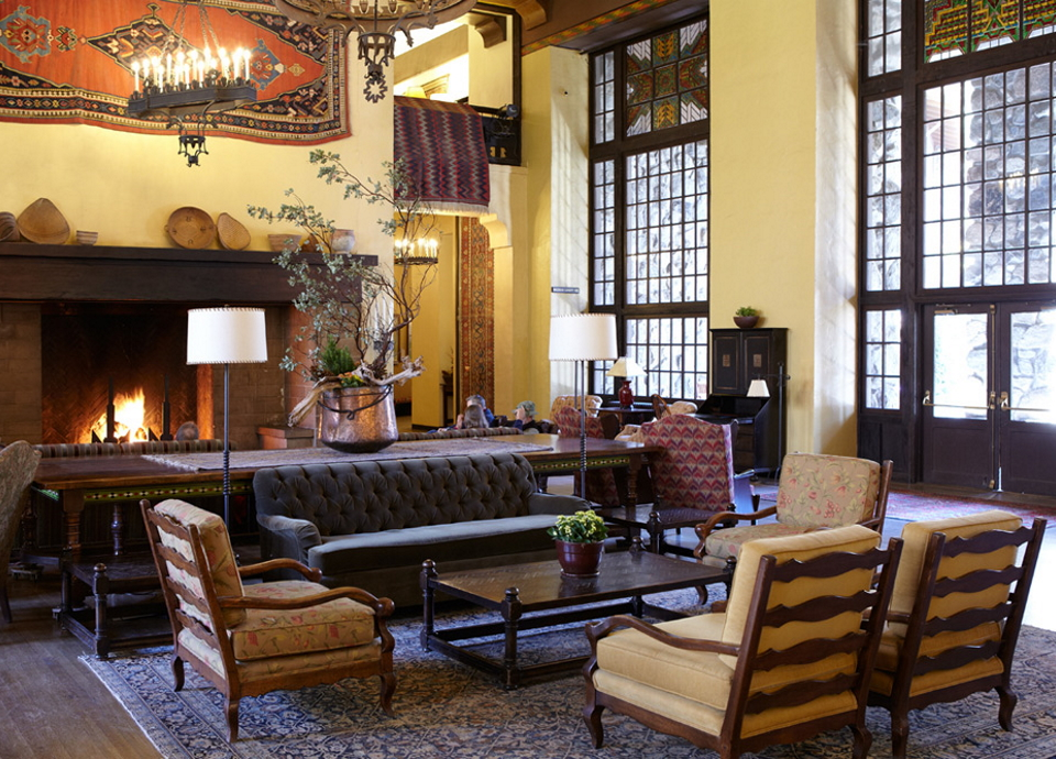 The Grand Lounge of the Ahwahnee hotel in Yosemite.