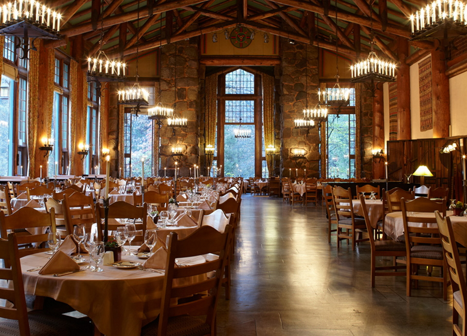 The Dining Room of the Ahwahnee Hotel in Yosemite.
