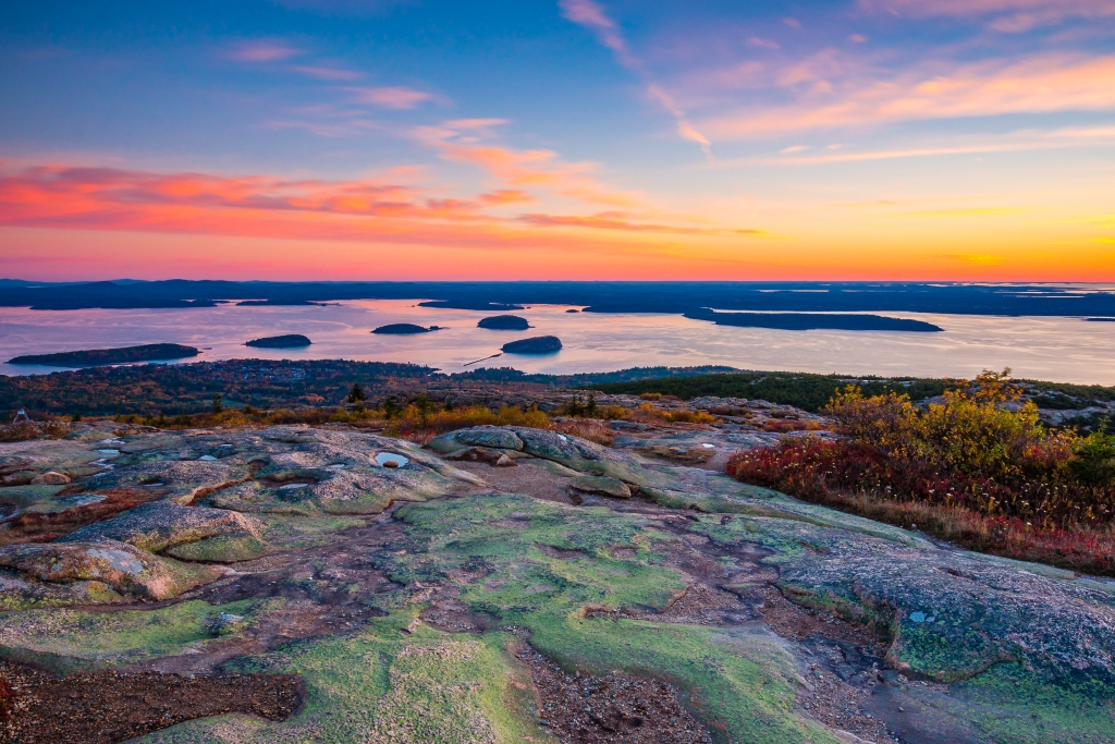 Sunrise from the Summit of Mount Cadillac in Fall   Acadia National Park, Maine, USA