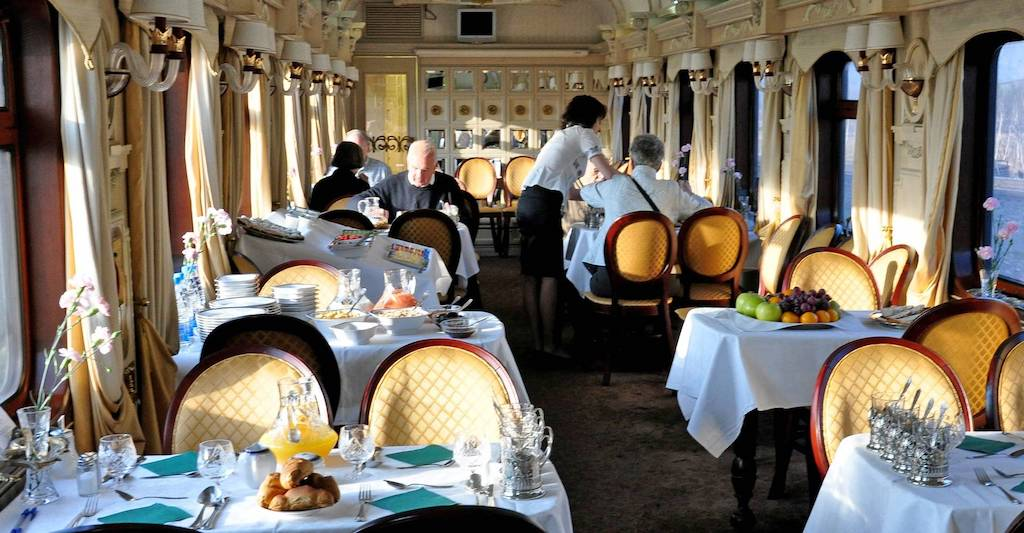 Breakfast is served in the ornate dining coach each morning, complete with freshly squeezed juices, tea, coffee, omelets, and pastries hot out of the oven.