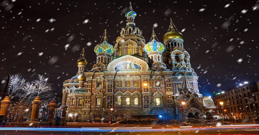 The gilded domes of the Church of the Savior of Spilled Blood in St. Petersburg.