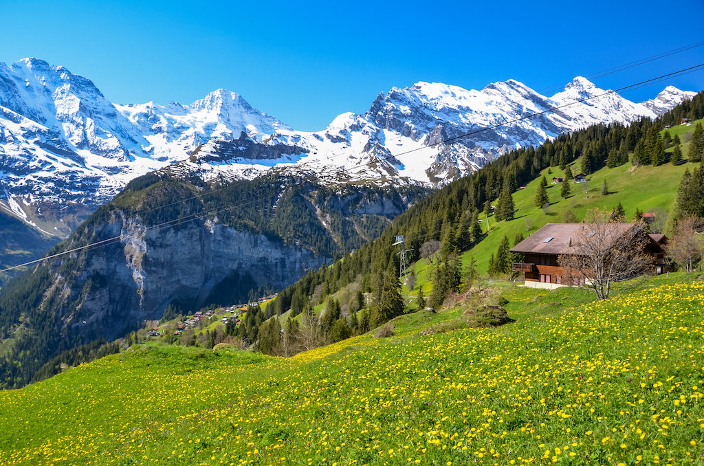 Snow-capped Swiss mountains in Murren