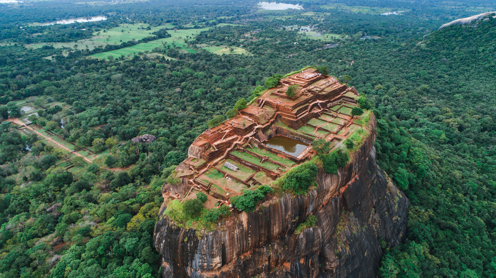 Sigiriya 'Lion's Rock' in the middle of the forest in Sri Lanka